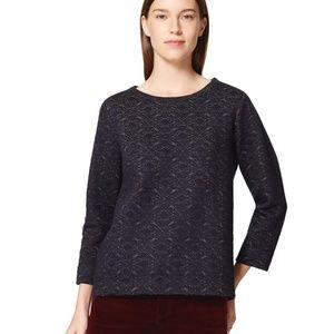 Ann Taylor LOFT Navy & Gold Embroidery Sweatshirt